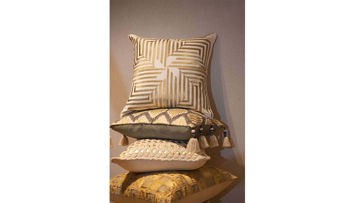 Assorted gold cushions